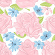 Pink roses seamless pattern over white