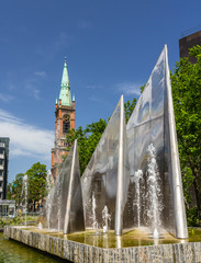 Modern fountain in Dusseldorf, Germany