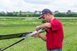 Man makes the assembly RC glider