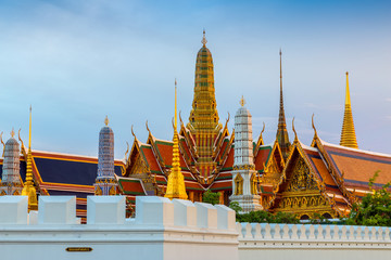 twilight, Thai temple in Grand Palace, Bangkok, Thailand