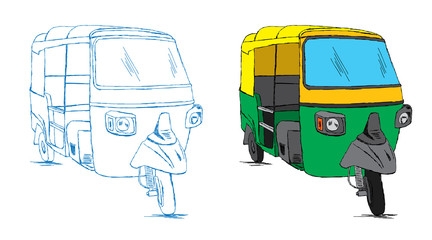 Indian Auto Rickshaw Sketch - Vector Doodle Illustration