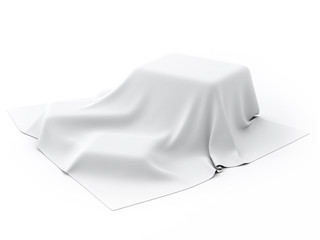 Mysterious box Covered with White Drapery