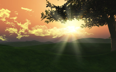 3d sunset landscape