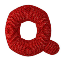 Letter Q Made of Wool Knit isolated on White Background