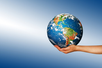 Globe on her hands, South and North America. Elements of this im