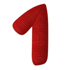 Number One Made of Wool Knit Isolated on White Background