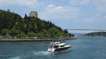 Cruising in the Bosphorus Strait in Istanbul Turkey