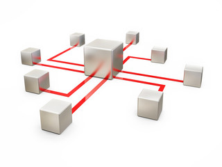 Concept of Network Communication on White Background