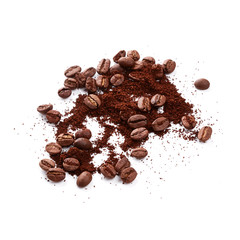 Ground coffee with coffee beans