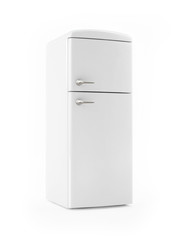 Retro White Refrigerator on White background