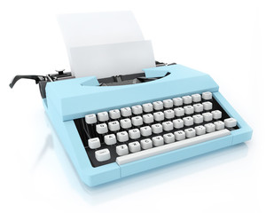 Typing Machine on White Background, Blank Paper, Render