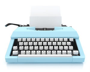 Typing Machine on White Background, Render