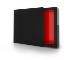 Black Box with red Inside Isolated on White Background