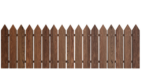 Wooden Fence on White background, Cherry Dark