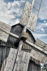 Old wooden traditional ukrainian windmill