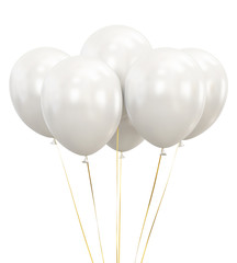 White Balloons isolated on White Background