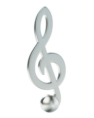 Music Note Treble Clef Icon Isolated on White Background