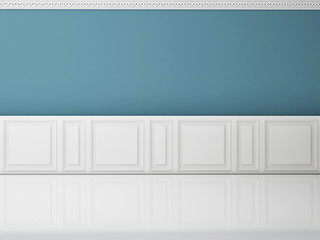 Blue wall in a classic style and reflection white floor