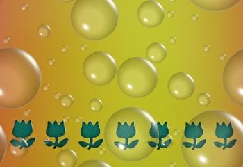 Hintergrund gelb abstrakt mit Seifenblasen
