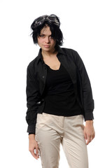 woman in black casual clothing with stylish galsses