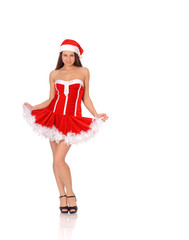 woman posing in red christmas dress