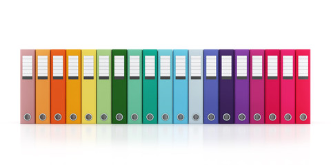 Multicolor Office Folder File Horizontal Composition Isolated