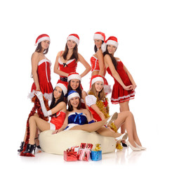 beauty women in Christmas costumes