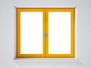 Empty Yellow Window on White Wall