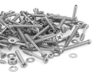 Screws and bolts isolated