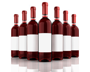 Red wine bottles isolated