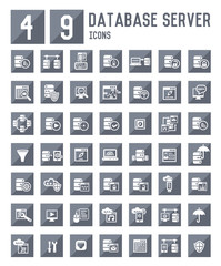 49 Database server icons,vector