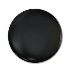Black Plastic Badge Isolated Over White Background