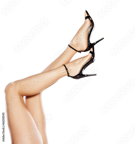 canvas print picture pretty female legs in elegant sandals with high heels