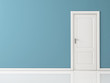 canvas print picture - Closed White Door on Blue Wall, Reflective Floor