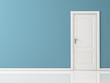 Leinwandbild Motiv Closed White Door on Blue Wall, Reflective Floor