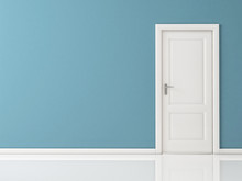 "Постер, картина, фотообои ""Closed White Door on Blue Wall, Reflective Floor"""