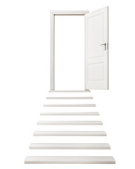 Open Door on the Top of Stairs Isolated on White Background
