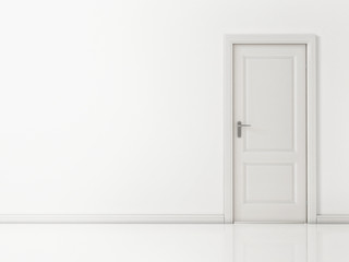 White Door on White Wall, Reflective Floor