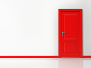 Red Door on White Wall, Reflective Floor