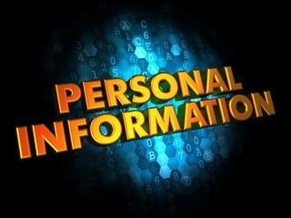 Personal Information - Gold 3D Words.