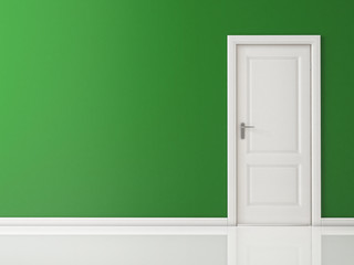 Closed White Door on Green Wall, Reflective Floor