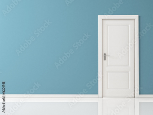 Closed White Door on Blue Wall, Reflective Floor - 66200743