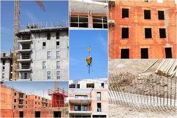 collage de photos industrie construction et bâtiment