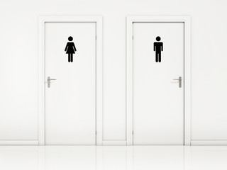 Female and Male, Toilet Doors - White Wall and Black Sign