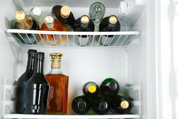Refrigerator full of bottles with alcoholic drinks