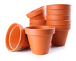 Clay flower pots, isolated on white
