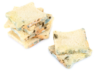 Mouldy bread, isolated on white
