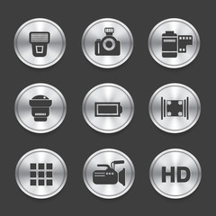 Photography icons,Silver vector