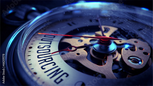 Outsourcing on Pocket Watch Face. Time Concept. - 66201178