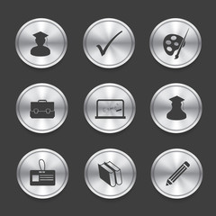 Education icons,Silver vector